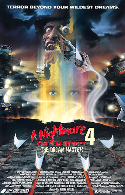 "Movie poster for the Smart Egg Pictures and New Line Cinema's 1998 horror sequel ""A Nightmare on Elm Street 4: The Dream Master,"" starring Robert Englund, Lisa Wilcox, Tuesday Knight, Andras Jones, Rodney Eastman, Danny Hassel, Ken Sagoes, and Brook Theiss"