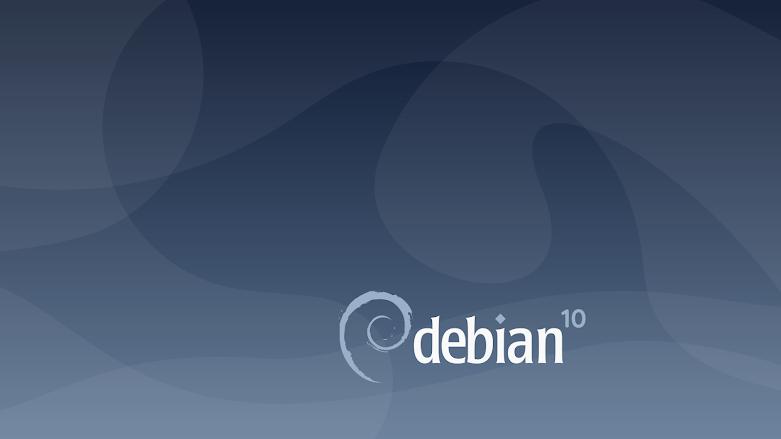 Debian 10 bejelentkező képernyő, Debian 10 spirál logó középen és szürkés kék buborékra hasonlító foltok a a sötétkék háttér előtt.