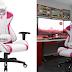 JUMMICO Pink Gaming Chair Girl Series Height Adjustable Racing Chair