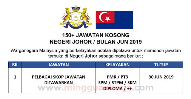 Terbuka! Permohonan 150+ Jawatan Kosong Negeri Johor Bulan Jun 2019