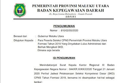 Jadwal Tes Seleksi Kompetensi Dasar (SKD) CPNS Tahun 2019 Maluku Utara