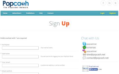 Langkah cara daftar di Popcash.net