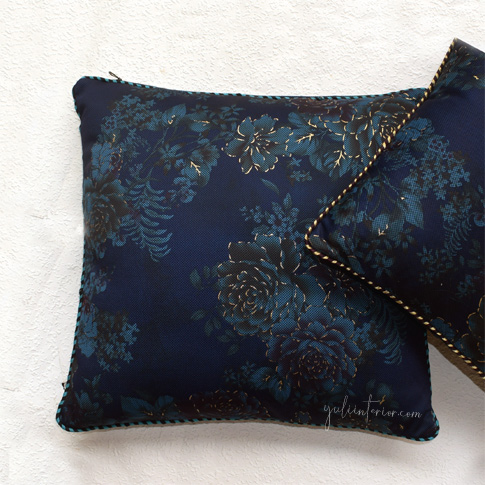 Blue with Gold Accent Lip Cord Finish Throw Pillow Available in Port Harcourt, Nigeria