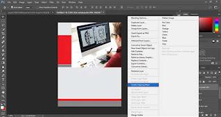 Letakkan di atas persegi kotak kemudian klik kanan layer foto lalu pilih Create Cliping Mask untuk memasukkan objek