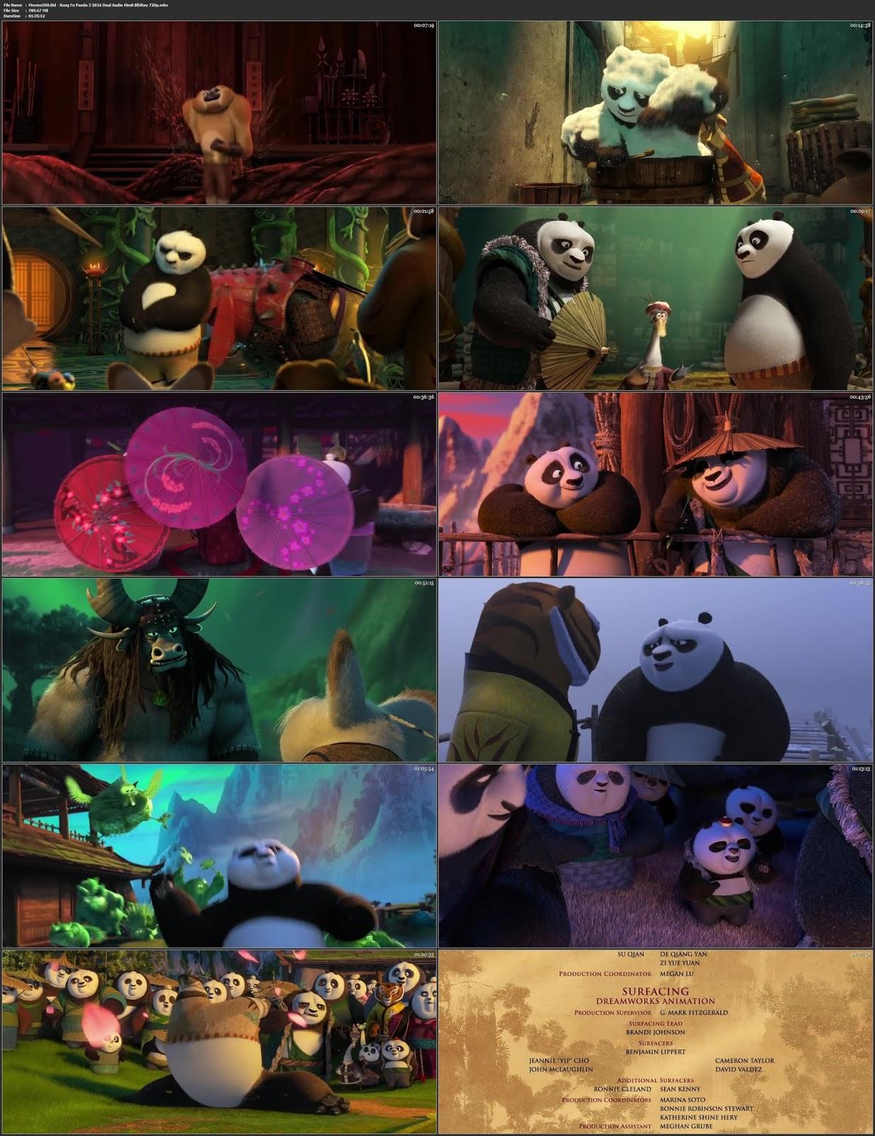 Kung Fu Panda 3 2016 Hindi Dubbed 300MB BluRay 480p