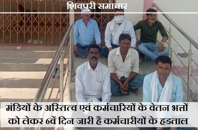 मंडियों के अस्तित्व एवं कर्मचारियों के वेतन भत्तों को लेकर 6वें दिन जारी है हड़ताल - SHIVPURI NEWS