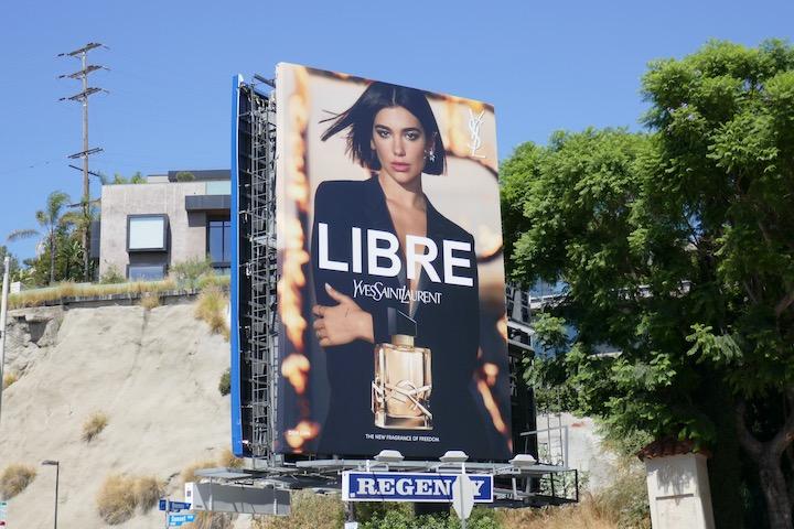 Dua Lipa Libre YSL fragrance billboard