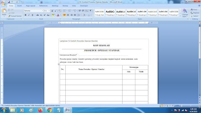 Contoh Prosedur Operasional Standar Ujian Sekolah Terbaru