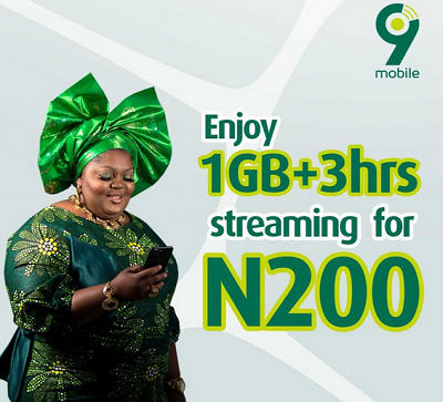 Get 9mobile 1GB + 3Hours Free Streaming for Just N200