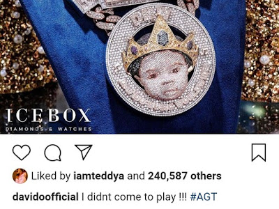 Davido Reveals The Face Of His Son On N150 Million Customized Diamond Necklace
