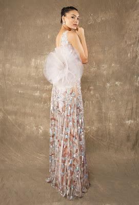 Manish Malhotra dresses Crocket Flower highslit gown back side