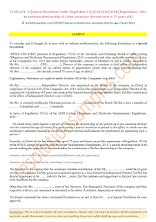 Special Resolution Regulation 17(1A) Non-executive Director 75 yearrs