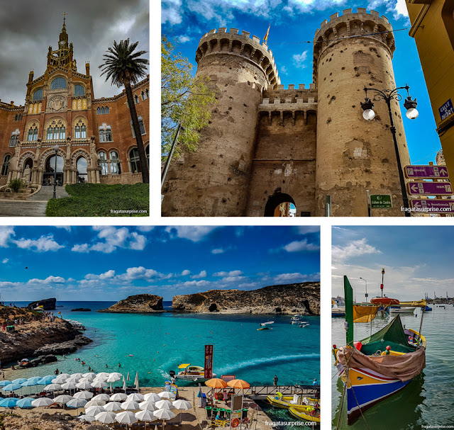 Hospital Sant Pau, em Barcelona, Torres de Quart, em Valência, Lagoa Azul e os barcos típicos de Malta