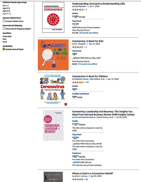 "Search for ""Coronavirus"" on Amazon finds a diverse lot of books (Source: Amazon)"
