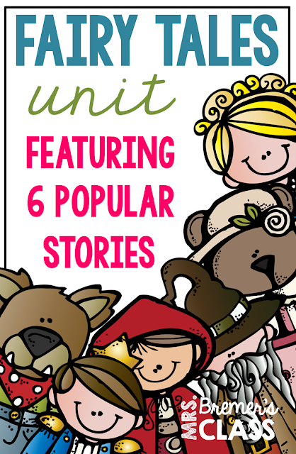 Fairy Tales unit featuring The Three Pigs, Cinderella, Goldilocks and the Three Bears, The Frog Prince, and Jack and the Beanstalk. Packed with lots of fun literacy ideas and guided reading activities. Common Core aligned. Grades 1-3. #fairytales #literacy #guidedreading #1stgrade #2ndgrade #3rdgrade