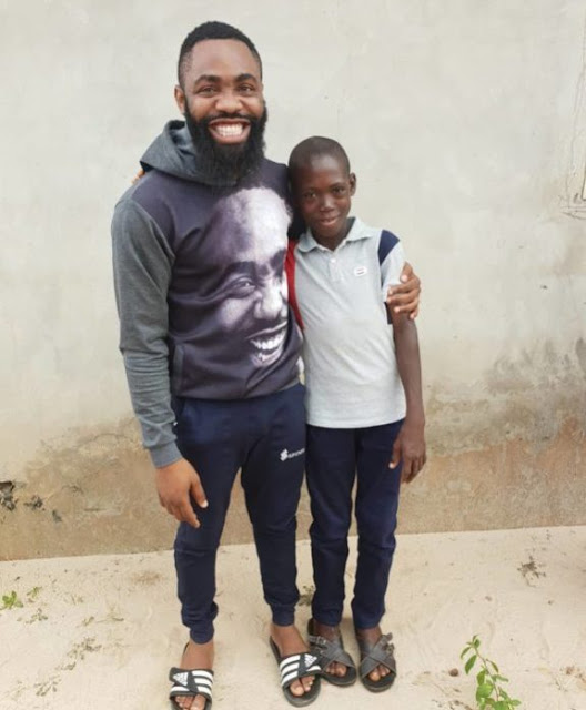 Comedian Arole meets viral boy singing Tope Alabi's song