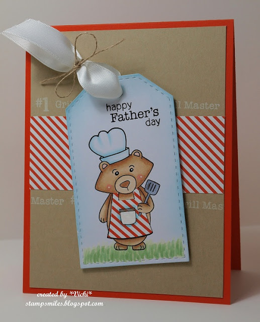 BBQ Bear Father's Day Card by Vicki | Winstons BBQ Stamp set by Newton's Nook Designs #newtonsnook