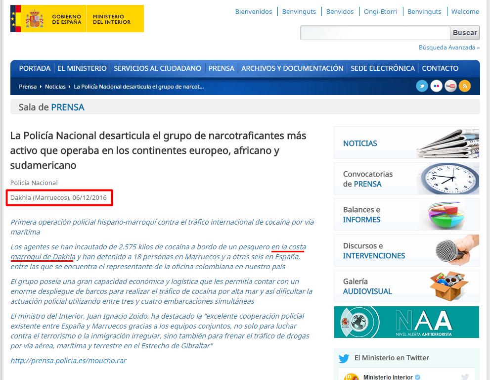 El confidencial saharaui ministerio del interior de for Web ministerio del interior