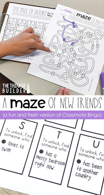 """A Maze of New Friends"" is a fun and fresh version of the old Classmate Bingo game. Makes a great get-to-know-you activity for the first week of school. Read more about it here! (The Thinker Builder)"