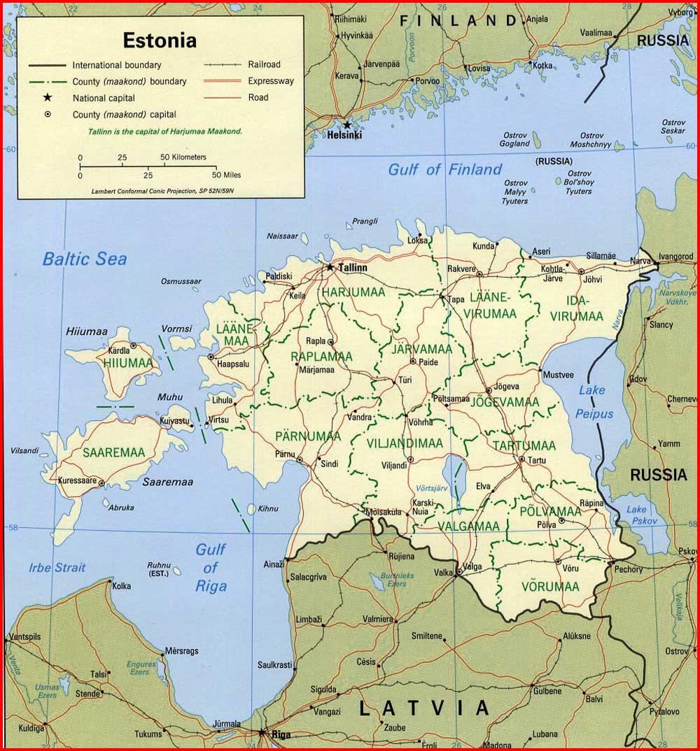 image: Estonia Political Map