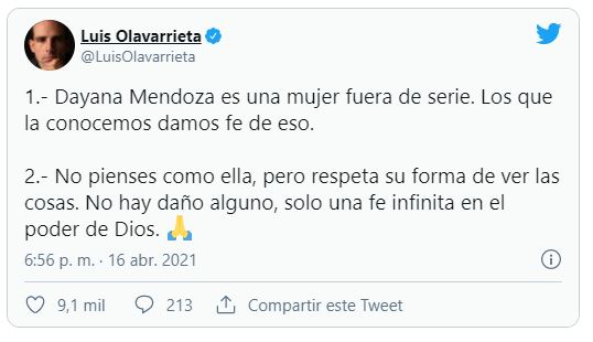 Luis Olavarrieta defiende la locura y el fanatismo de Dayana Mendoza