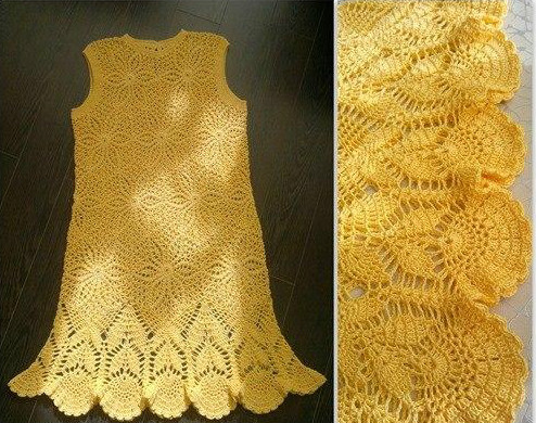 Crochet golden dress with step by step pattern shop