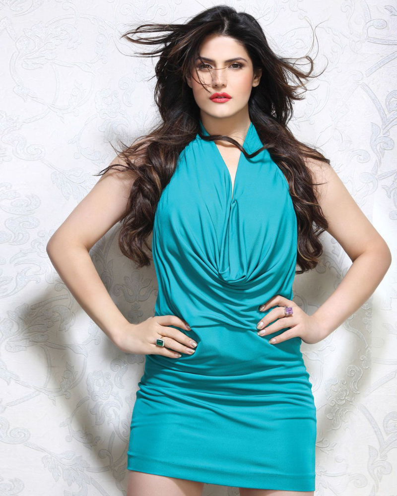 Cute and blue dressd India Actress and women Zarine Khan
