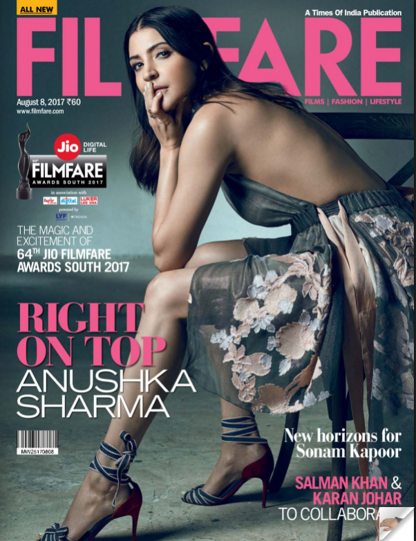 Anushka Sharma On The Cover of Filmfare Magazine August 8 2017 Issue