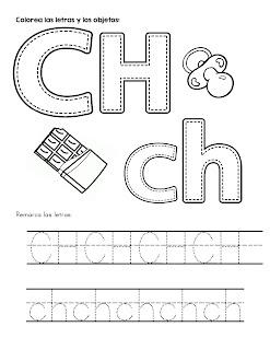 Trazos del abecedario letra Ch