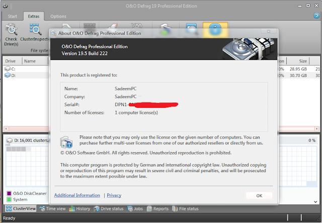 O&O Defrag Professional Edition Serial Key