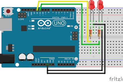 Pengontrol 2 buah LED menyala bergatian (Flip-Flop) dengan Arduino #4