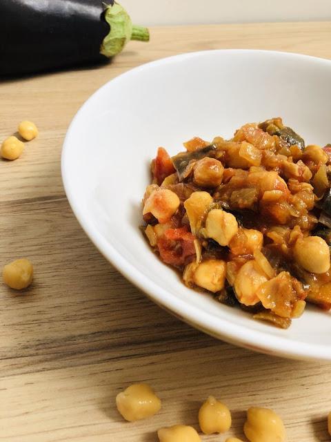 Curry aubergine pois-chiches tomate - IG bas - Sans gluten