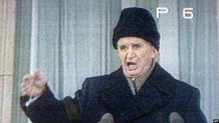 Nicolae Ceaușescu, December 1989, on the balcony the day he lost power in Romania