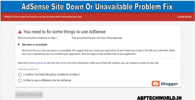 Google AdSense Site Down Or Unavailable (100% Problem Fixed )