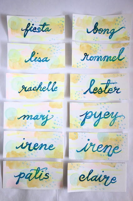 watercolor painting, hand lettering, brush lettering, calligraphy, watercolors, thank you cards, names, friends, handmade gifts, blah to TADA