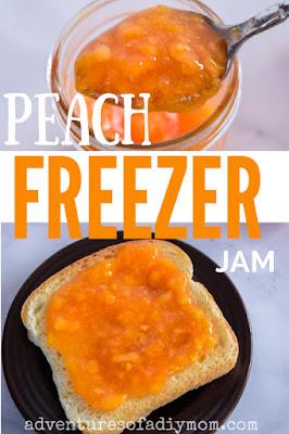 collage of peach freezer jam images