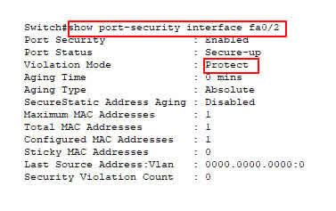 konfigurasi violation mode protect