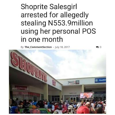 Shocker! How Shoprite Sales girl diverted N553.9m through personal POS