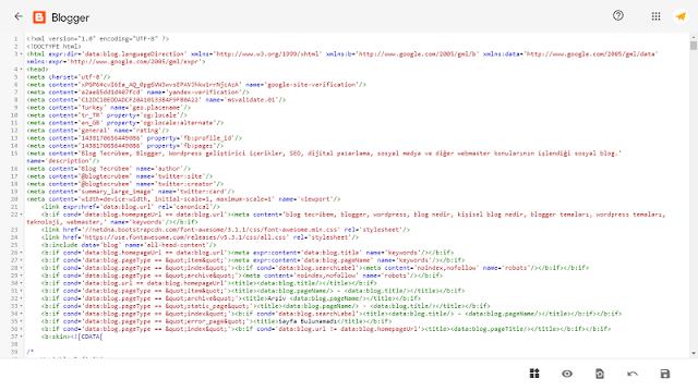 Yeni Blogger HTML alanı