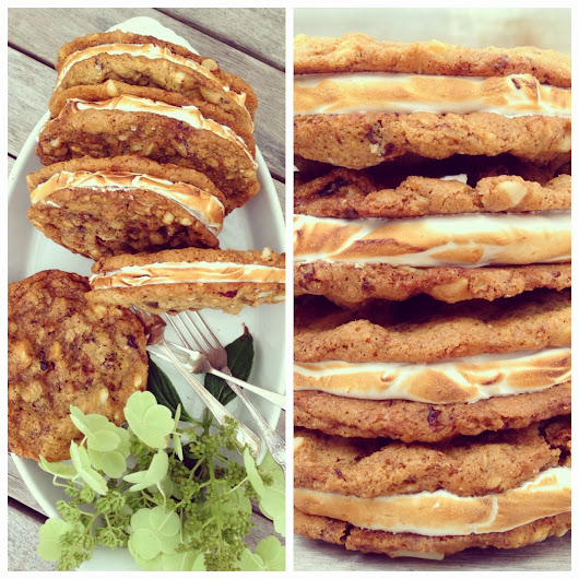Toasted Marshmallow, Macadamia and Chocolate Oat Sandwich Cookies