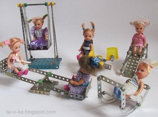 поделки качели для кукол
