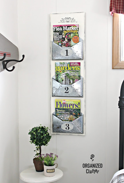 Galvanized Envelope Wall Organizer #upcycle #stencil
