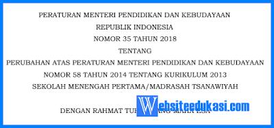 Permendikbud Nomor 35 Tahun 2018 Tentang Struktur K13 SMP/MTS