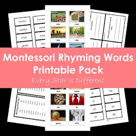 Montessori Rhyming Words Printable Pack