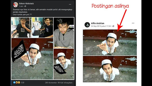 Foto Pelaku Penusukan Syekh Ali Jaber Diedit Lagi Megang Bendera Tauhid dan Disebarkan Para Buzzer