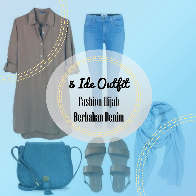 5 Ide Gaya Outfit Fashion Hijab Berbahan Denim