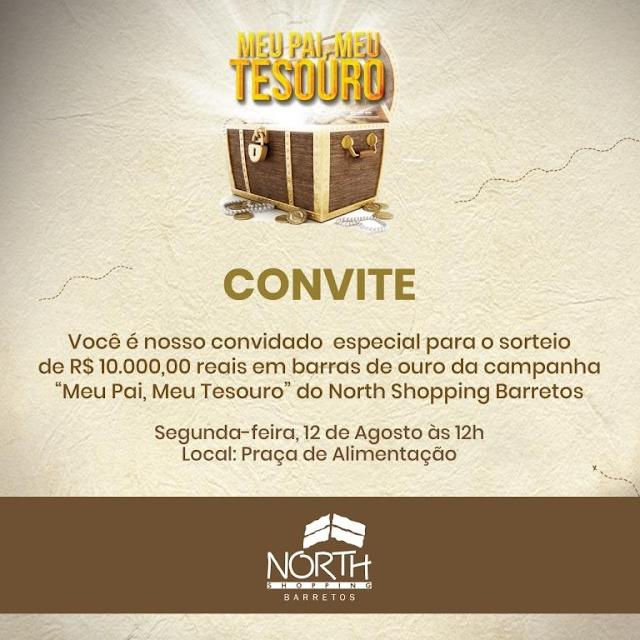 Campanha Dia dos Pais sorteia R$10 mil reais em barras de ouro nesta segunda no North Shopping Barretos