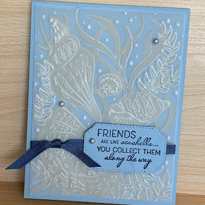 Seashell-themed greeting card using Friends Are Like Seashells Stamp Set from Stampin' Up!