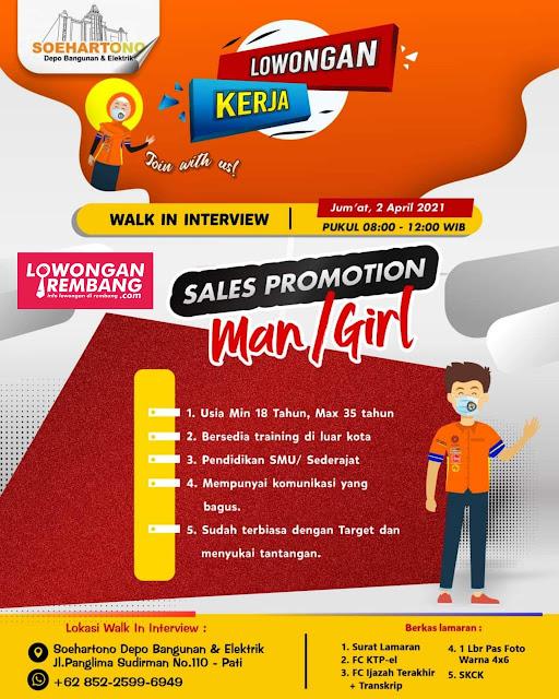 Lowongan Kerja Sales Promotion Toko Bangunan Depo Hartono Pati