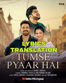 Tumse Pyaar Hai Lyrics in English | With Translation | - Vishal Mishra